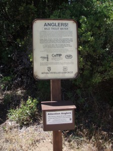 DFG's Yucca Point Trailhead Angler Survey Box